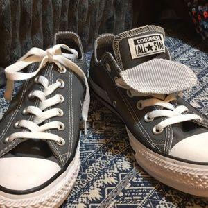NEW Converse,8, dk grey, dbl tongue,strp lining